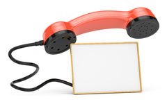 Handset with blank calling card. On white. 3d rendered image Royalty Free Stock Photography