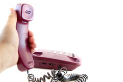 Handset in hand Royalty Free Stock Photos