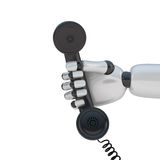 Handset in hand of robot. On white background Stock Images