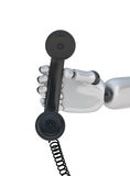 Handset in hand of robot. On white background Stock Photos