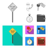 Handset with the inscription of a taxi, car keys with a key fob, a stopwatch with a fare, a purse with money, dollars. Taxi set collection icons in monochrome royalty free illustration