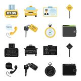 Handset with the inscription of a taxi, car keys with a key fob, a stopwatch with a fare, a purse with money, dollars. Taxi set collection icons in black royalty free illustration