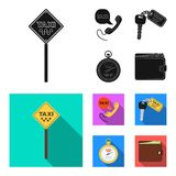Handset with the inscription of a taxi, car keys with a key fob, a stopwatch with a fare, a purse with money, dollars. Taxi set collection icons in black, flat royalty free illustration