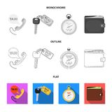 Handset with the inscription of a taxi, car keys with a key fob, a stopwatch with a fare, a purse with money, dollars. Taxi set collection icons in flat vector illustration