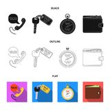 Handset with the inscription of a taxi, car keys with a key fob, a stopwatch with a fare, a purse with money, dollars. Taxi set collection icons in black,flat stock illustration