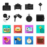 Handset with the inscription of a taxi, car keys with a key fob, a stopwatch with a fare, a purse with money, dollars. Taxi set collection icons in black,flet royalty free illustration