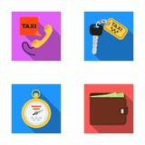 Handset with the inscription of a taxi, car keys with a key fob, a stopwatch with a fare, a purse with money, dollars Stock Image