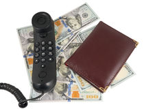 Handset and money Stock Images