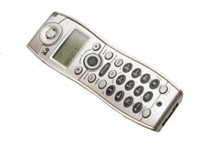 Handset of Phone. Gray/grey handset of cordless telephone isolated against white background Royalty Free Stock Photos