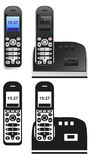 Handset and phone on white Royalty Free Stock Photos