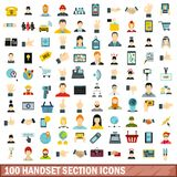 100 handset section icons set, flat style. 100 handset section icons set in flat style for any design vector illustration Vector Illustration