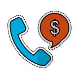 Handset with speech bubble. Handset and speech bubble with money sign over white background. vector illustration Stock Photos