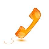 handset w pomarańcze, telefonu odbiorca, wektorowa ilustracja Obrazy Stock