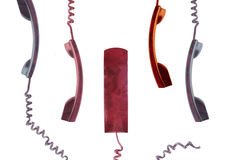 Handsets with the wires Royalty Free Stock Photo