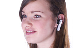 Handsfree on the phone. royalty free stock photography