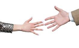 Handshake. Friendship handshake between businesswoman and businessman Stock Photo
