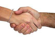 HandShake. Man and woman shaken their hands Royalty Free Stock Image