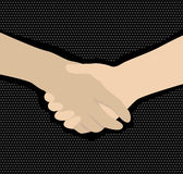 Handshake. On black dotted background stock illustration