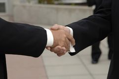 Handshake. At wedding of the groom and best man Stock Photography