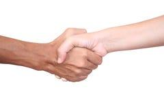 Handshake. Close-up handshake with white background Stock Photo