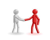 Handshake. The grey and red man exchange strong hand shake Royalty Free Stock Images
