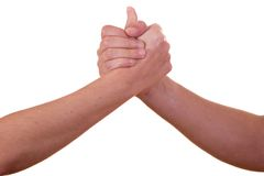 Handshake. (male and female hands)on white background Royalty Free Stock Image