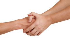 Handshake. Two people doing handshake isolated on white Royalty Free Stock Photos