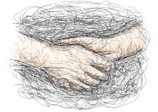 Handshake. Drawing of a handshake with many lines Royalty Free Stock Photo