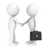 Handshake. 3D little human character X 2 shaking hands. Black Briefcase Stock Image