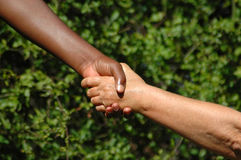 Handshake. Between a black hand of an African American woman and a white hand of an caucasian woman holding each other to show there agreement