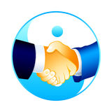 Handshake. Businessmen handshake over yin-yang symbol isolated Royalty Free Stock Photo