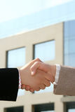 Handshake. Two businessmen shaking hands after agreement about a job Stock Photography