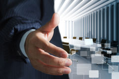 Handshake. Business man and meeting table background Royalty Free Stock Photo