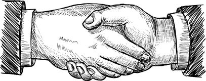 Handshake. Vector drawing of handshake of two men Stock Photo
