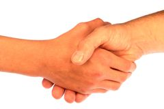 Handshake. Father and son handshake isolated on a white background royalty free stock photography