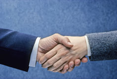 Handshake. Man and woman shake hands Stock Image