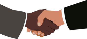 Handshake. A handshake between two different races Stock Images