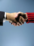 Handshake 5. Agreement on a yellow background. May fit a CEO to employee or business to end user concept stock photos