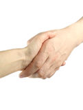 Handshake. Isolated on white, man and woman stock photos