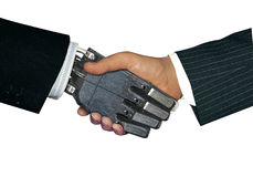 Handshake. With robot to  represent future technology Royalty Free Stock Images