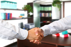 Handshake. A business handshake in office Royalty Free Stock Image