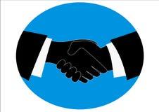 Handshake. Illustration of two businessmen handshaking over blue background Stock Image