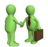 Handshake. Shake hand of two 3d stylized people. Objects over white Royalty Free Stock Images