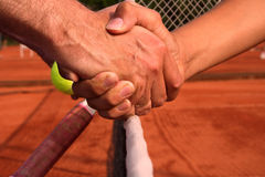 Handshake. After tennis game Stock Photo