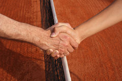 Handshake. Hanshake over net Stock Images