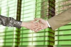 Handshake. Friendship handshake between  businesswoman and businessman Stock Photography