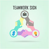Handshake abstract sign vector design template. Bu Stock Images