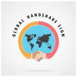Handshake abstract sign vector design template. Business creative concept. Vector illustration contains gradient mesh,credit :NASA royalty free illustration