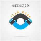 Handshake abstract sign vector design template. Stock Photos