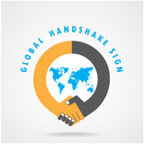 Handshake abstract sign vector design template Stock Images